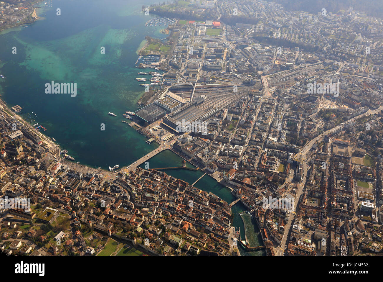 Lucerne main station Luzern Switzerland town City aerial view photography photo - Stock Image