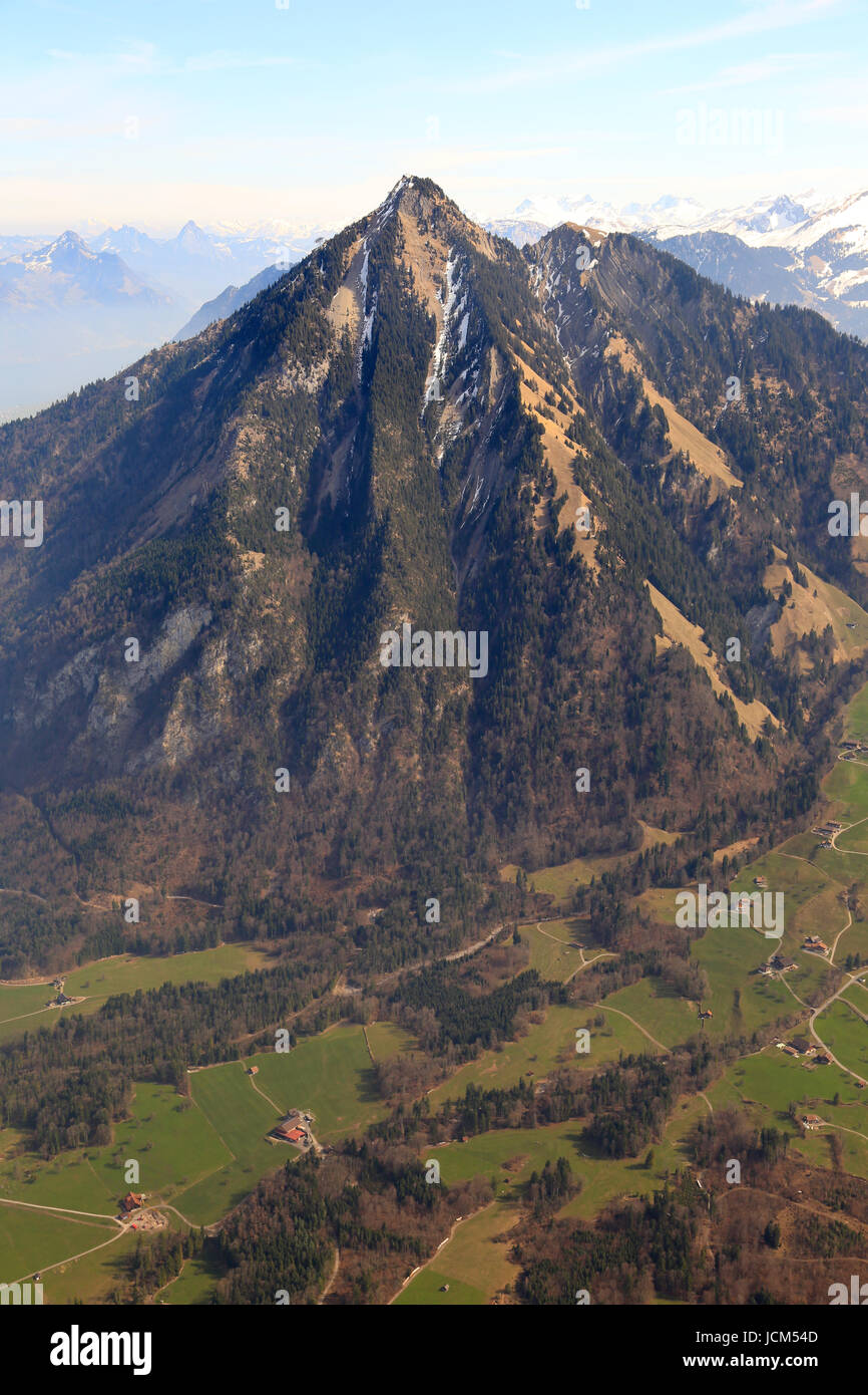 Stanserhorn mountain Switzerland Swiss Alps mountains upright format aerial view photography photo - Stock Image