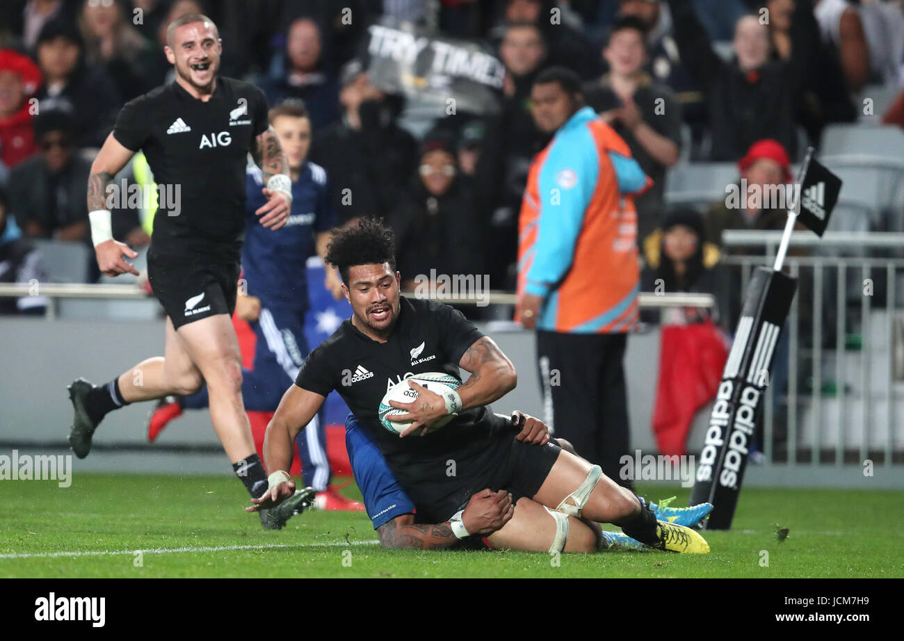 New Zealand's Ardie Savea scores his second try during the June International Test match at Eden's Park, - Stock Image