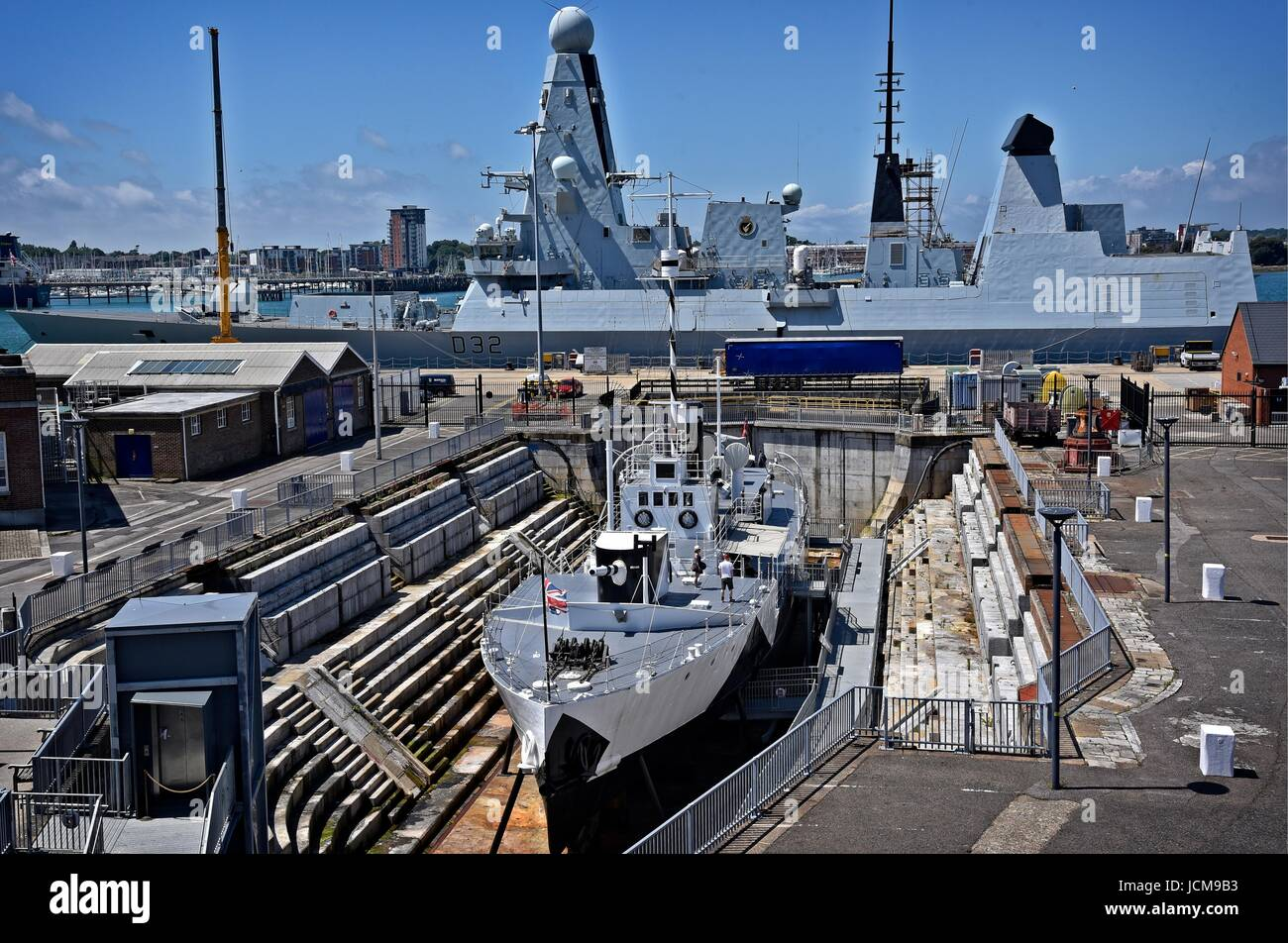 Portsmouth Historic Dockyard Hampshire UK HMS M33 an M29-class monitor of the Royal Navy built in 1915. Last survivor Stock Photo