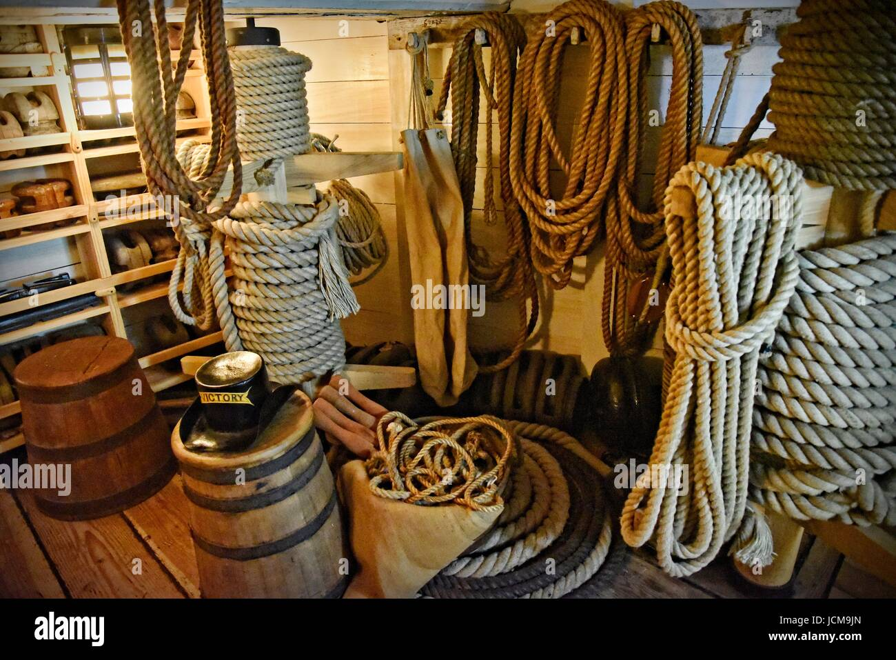 HMS Victory 104-gun first-rate ship of the line of the Royal Navy launched 1765. Nelson's flagship, Trafalgar 1805. Stock Photo