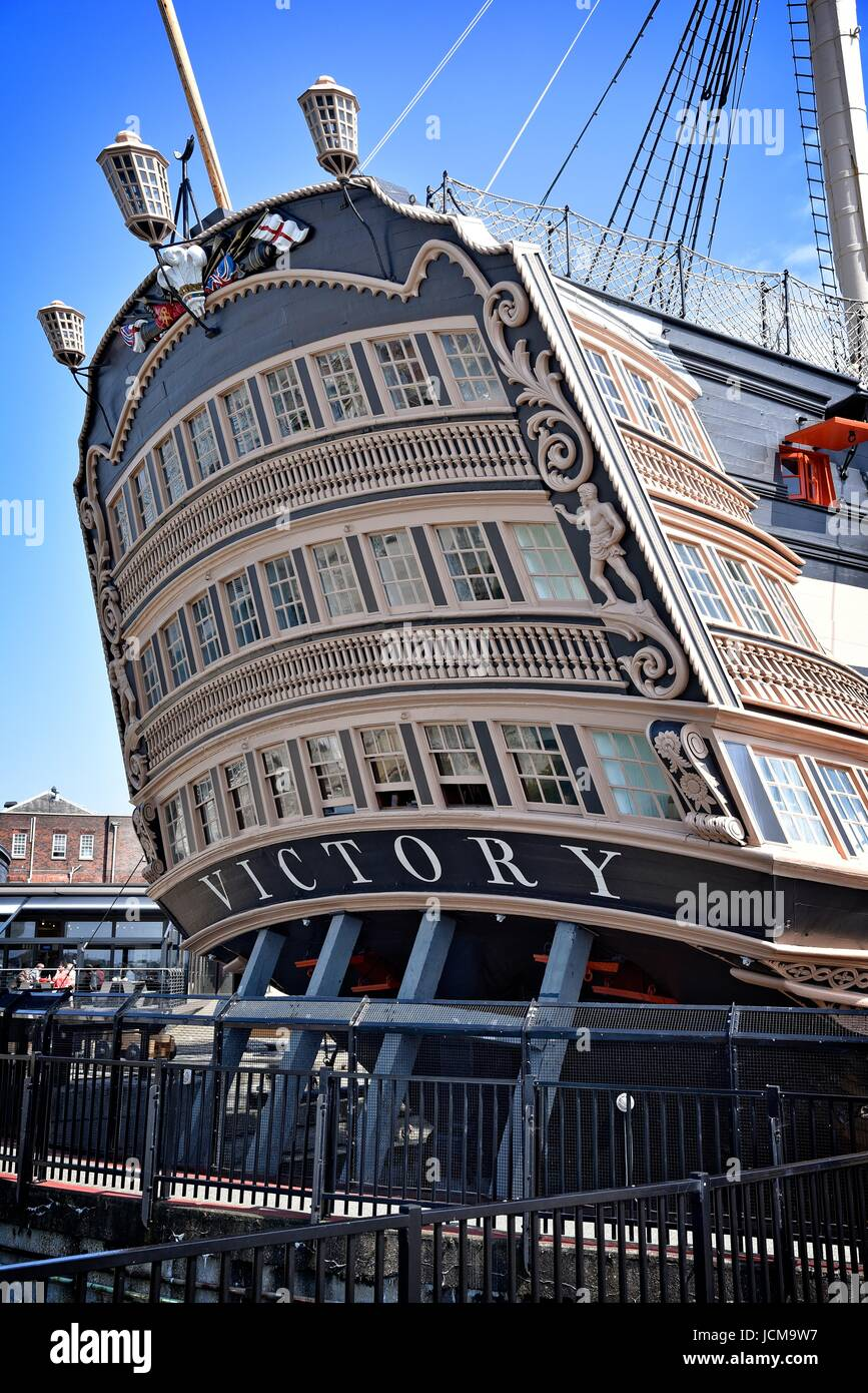 HMS Victory 104-gun first-rate ship of the line of the Royal Navy launched 1765. Nelson's flagship, Trafalgar - Stock Image