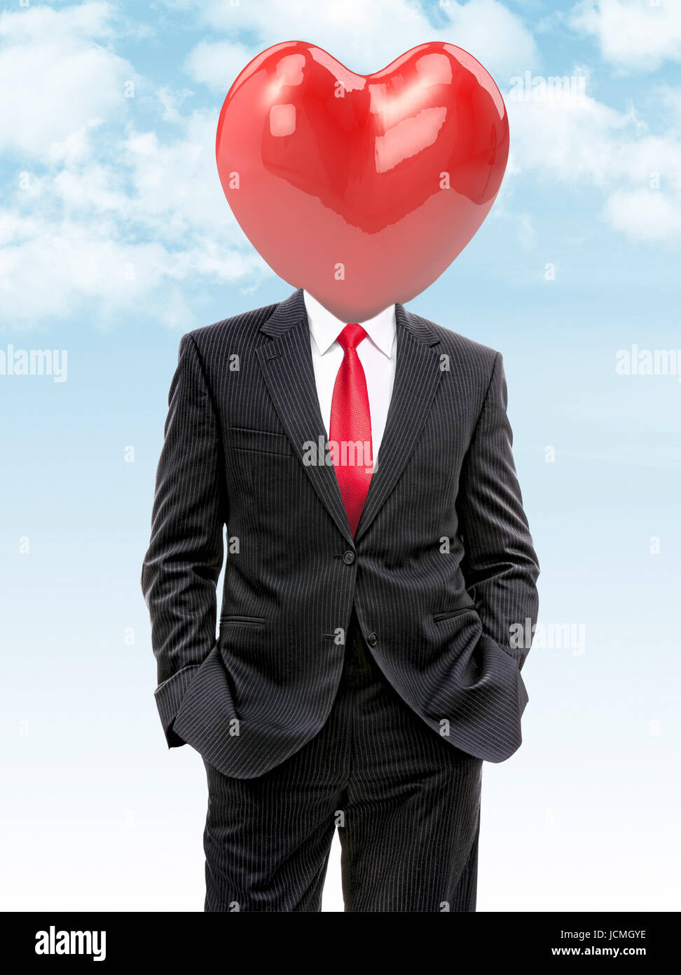 business man with big heart instead of head, 3d illustration - Stock Image