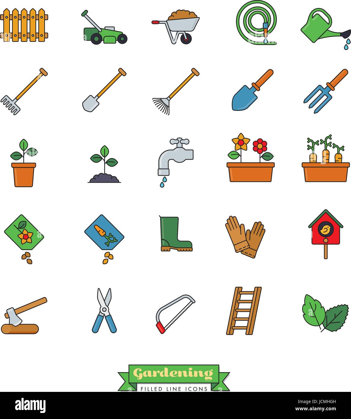Collection of gardening vector icons, filled outline style Stock Vector