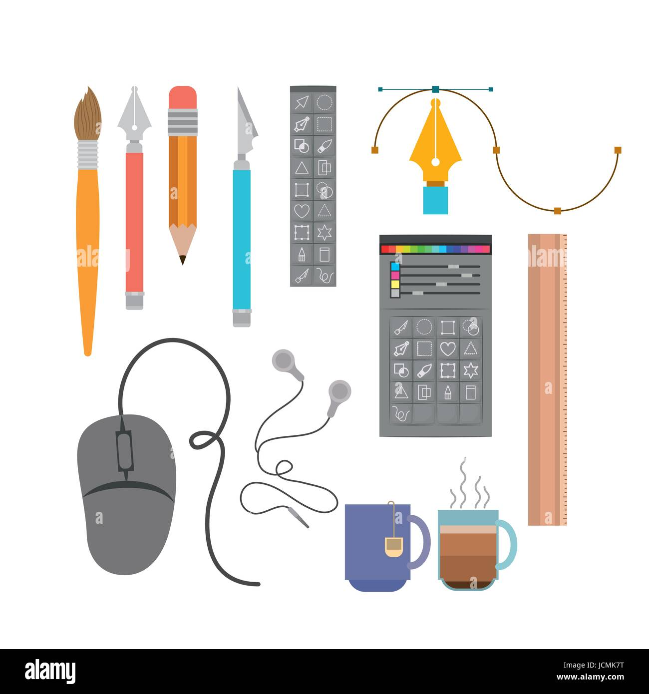 colorful background instruments to hand and multimedia design - Stock Image