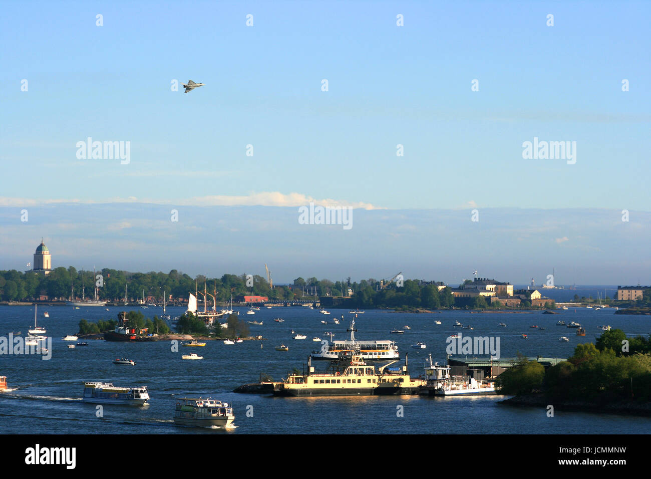 jet over helsinki Stock Photo