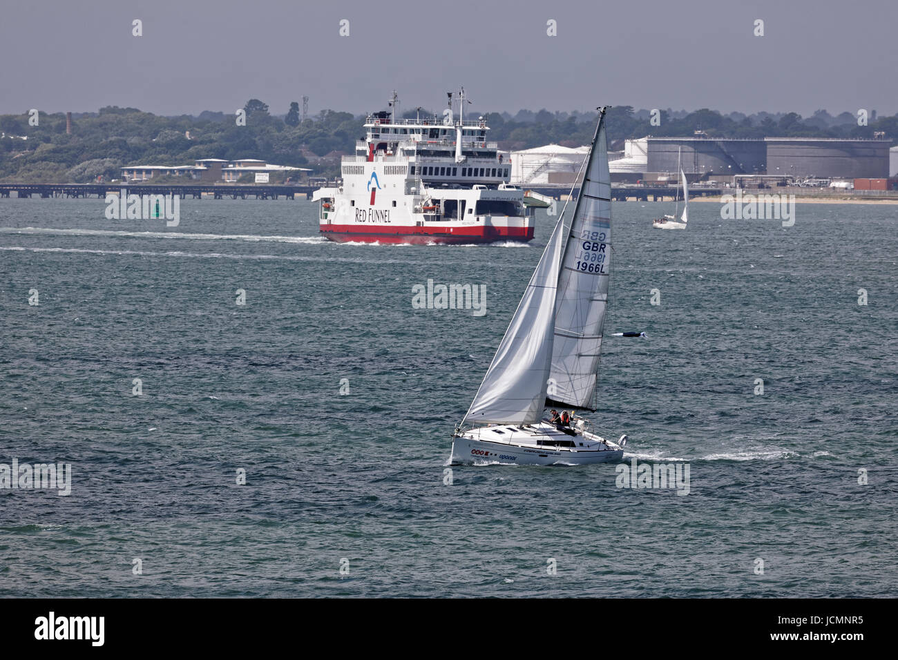 Farview Sailing Yacht Charter Company's Oceanis 37 Yacht and crew in the Solent - Stock Image