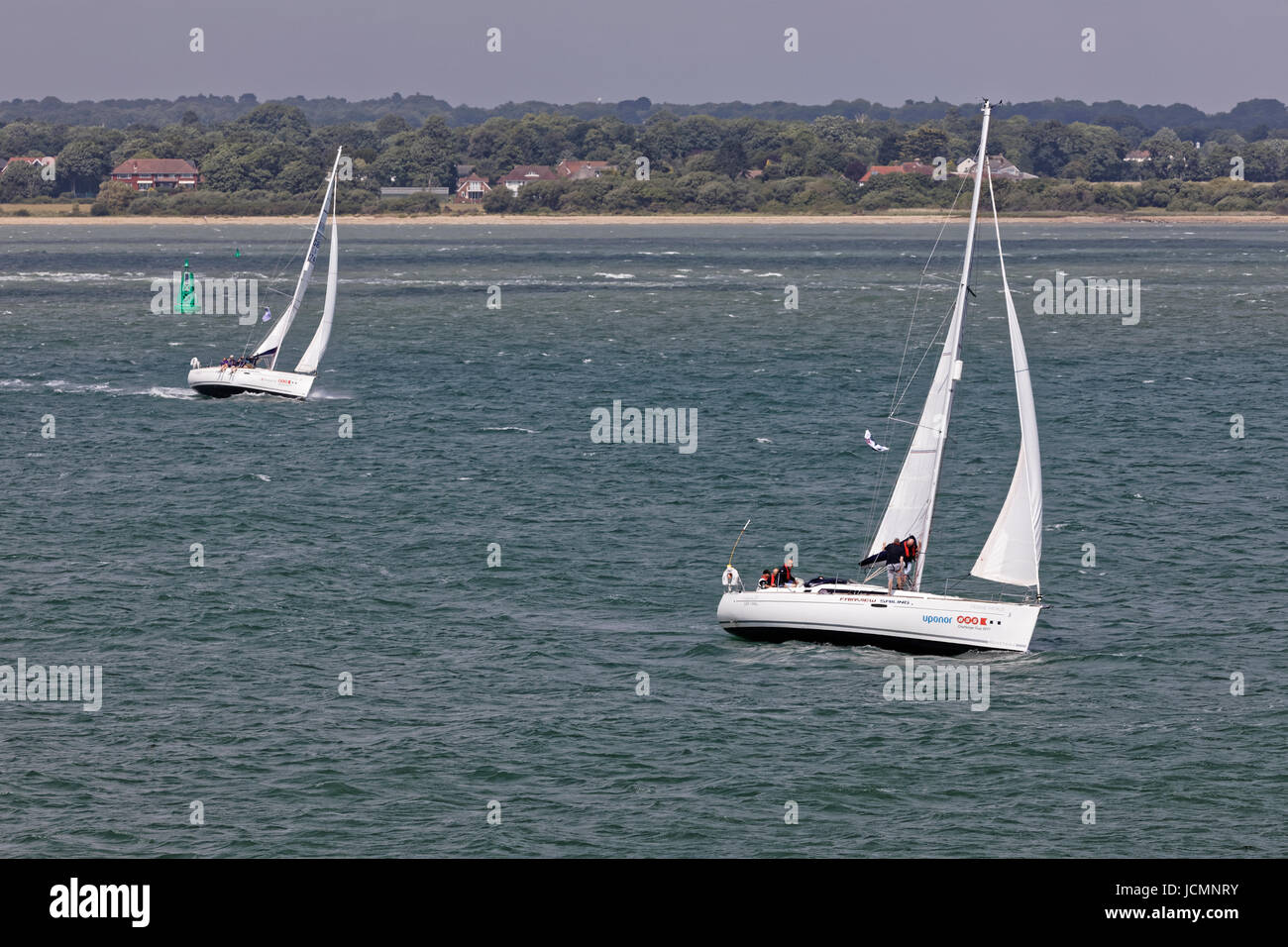 Farview Sailing Yacht Charter Company's Femme Fatal Oceanis 37 Yacht and crew in the Solent - Stock Image