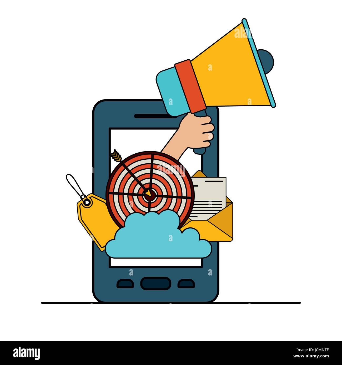 white background with colorful smartphone with set megaphone and strategy elements - Stock Image
