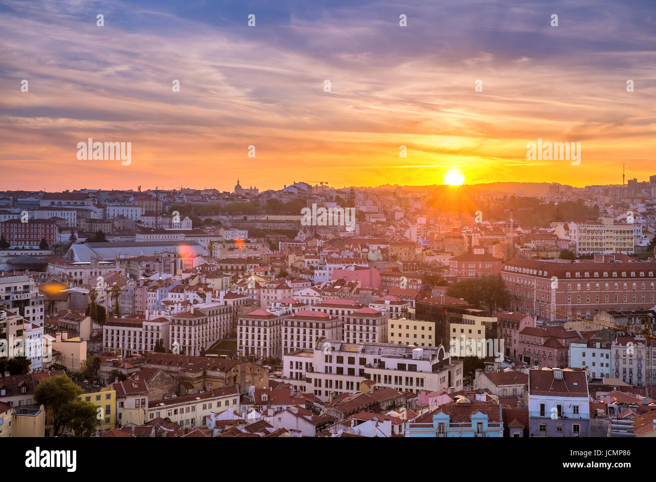 Historical centre of Lisbon at sunset, Portugal - Stock Image