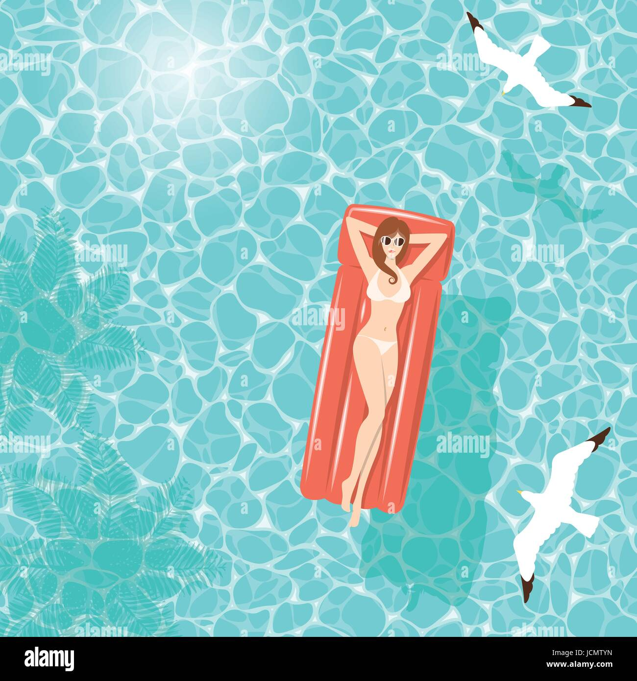 Woman in white bikini relaxing on red air mattress floating in clear turquoise sea water in summer, with shadow - Stock Vector