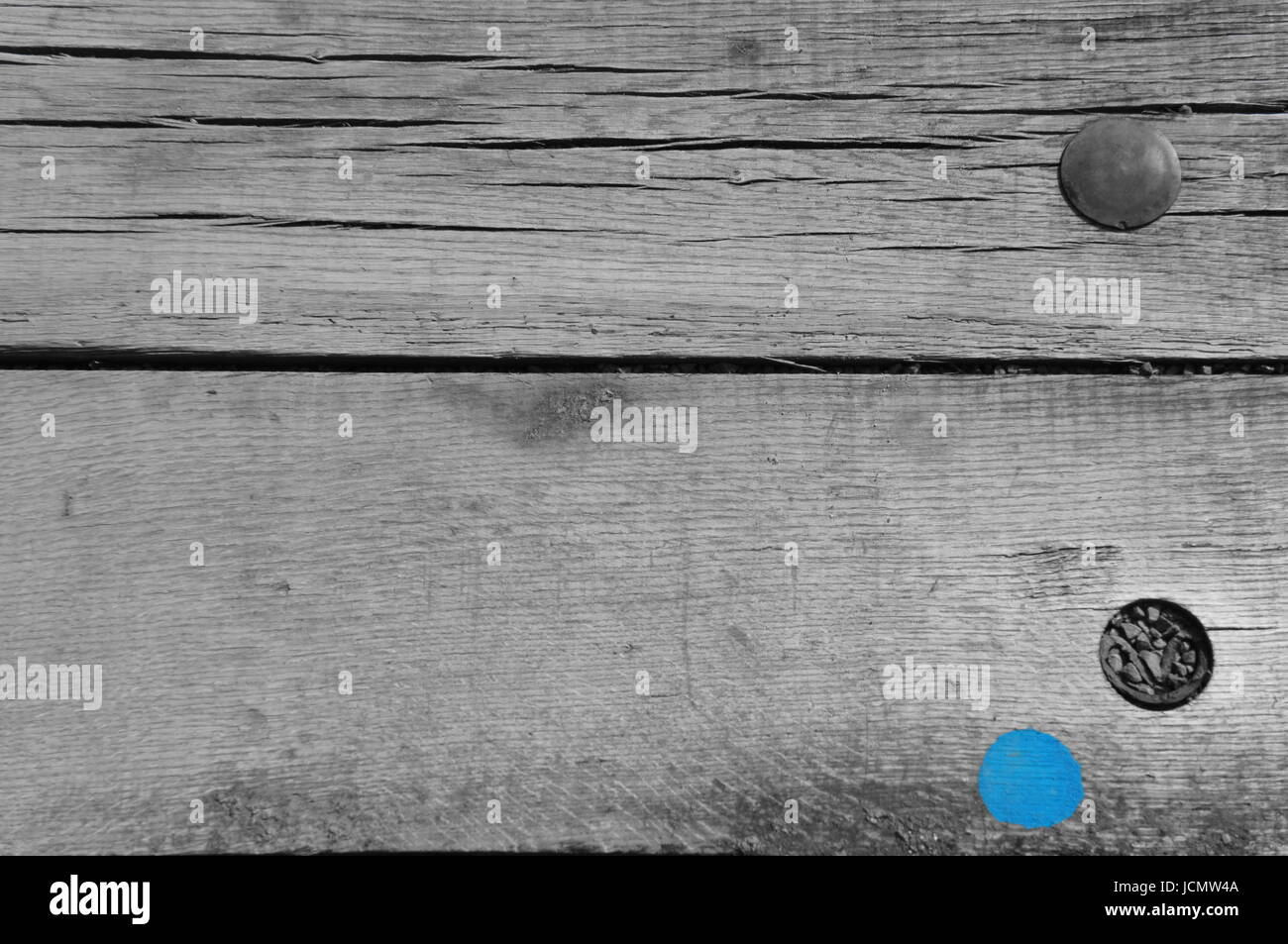 Wooden planks with blue paint - Stock Image
