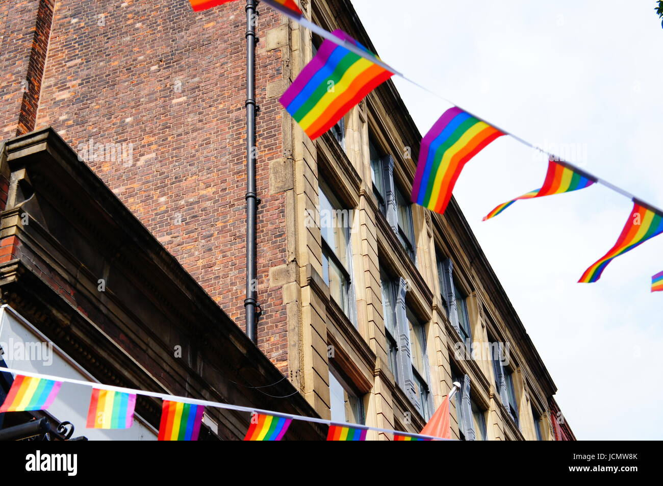 Manchester Pride flags and bunting - Stock Image