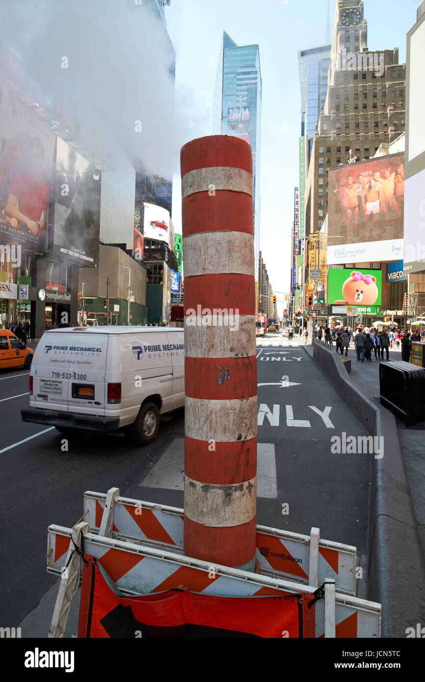 steam vent pipe Times Square New York City USA - Stock Image