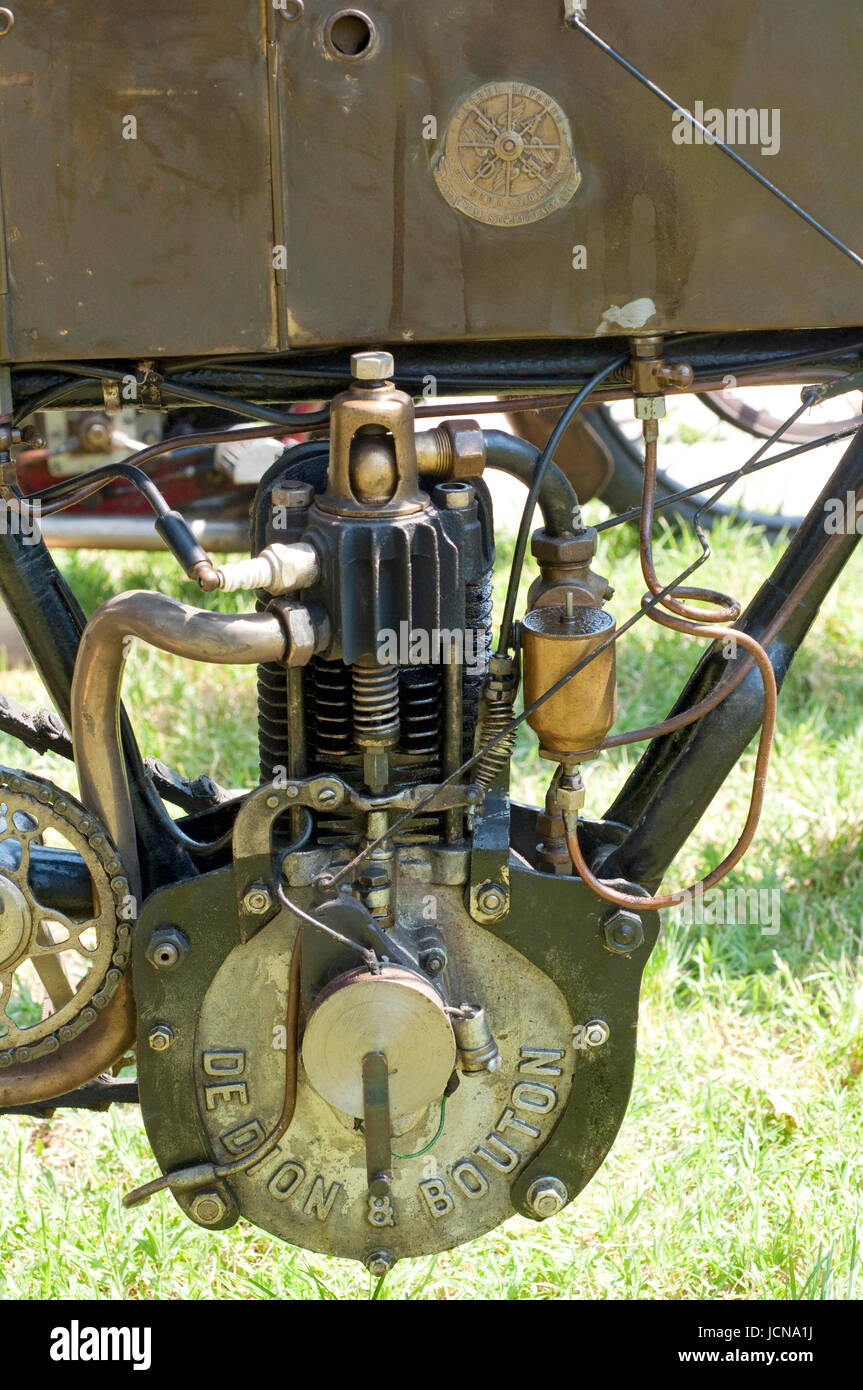 Historic De Dion Bouton Classic Motorcycle by 1901, Engine Motorcycle - Stock Image