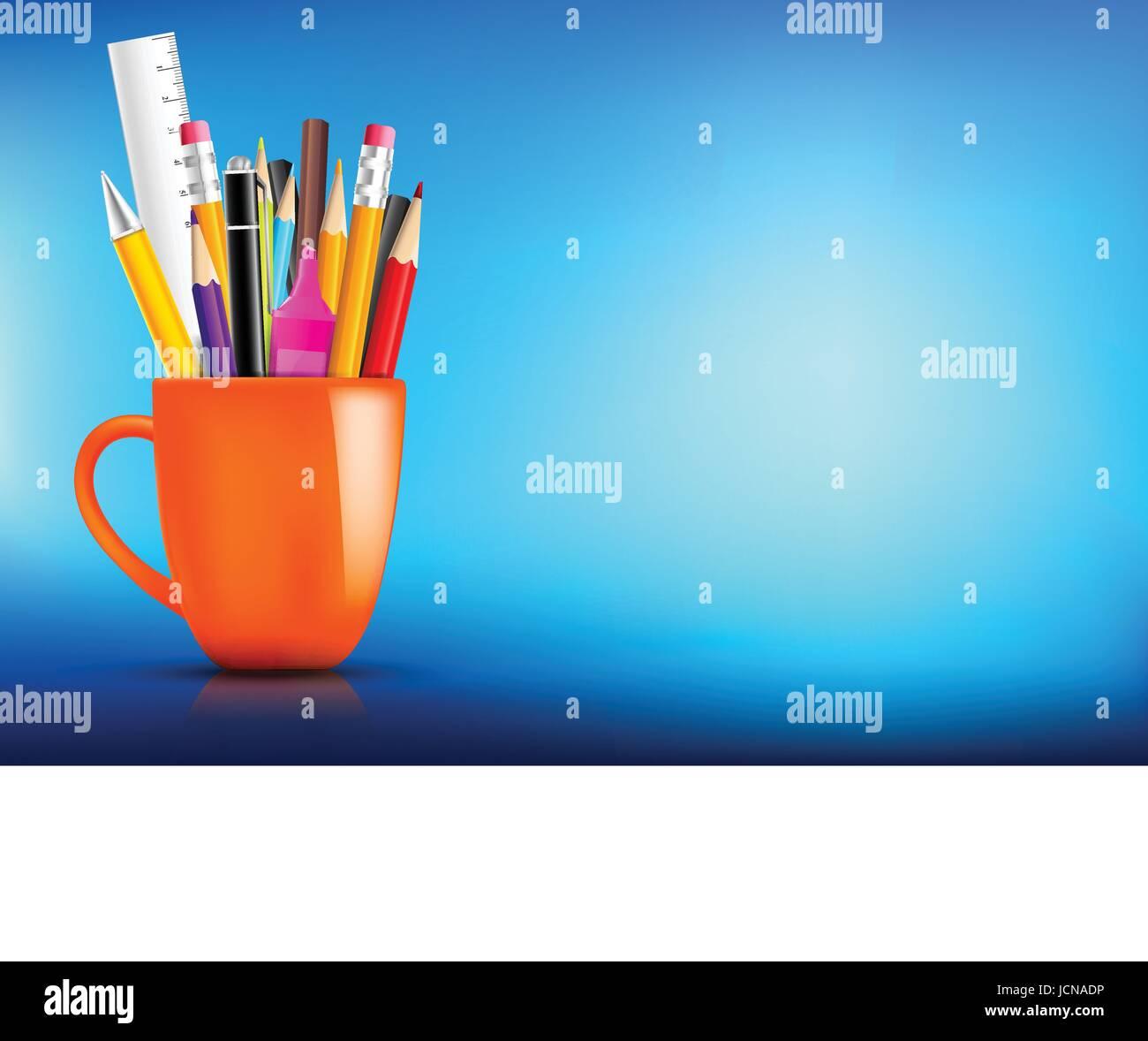 Orange stationary mug with pen pencil eraser marker on dark background for back to school concept vector illustration - Stock Image