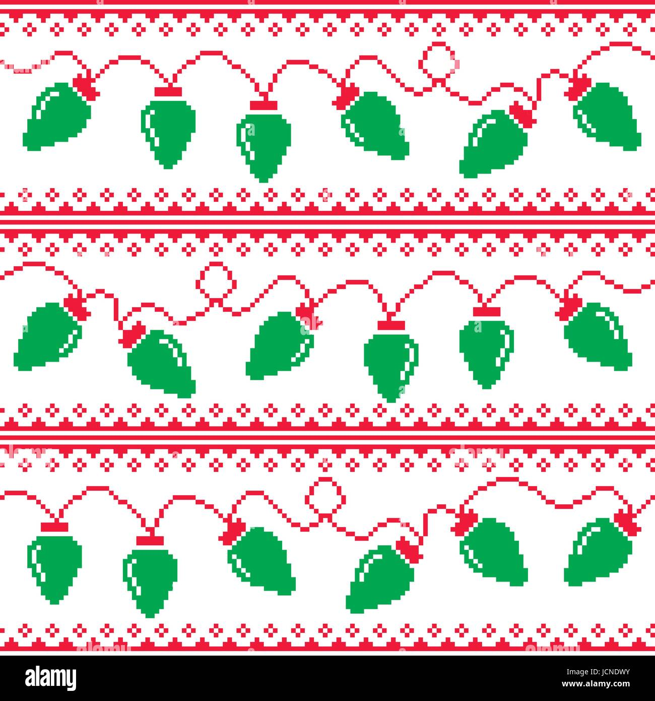 Ugly Christmas Sweaters Patterns.Christmas Tree Lights Seamless Pattern Ugly Christmas