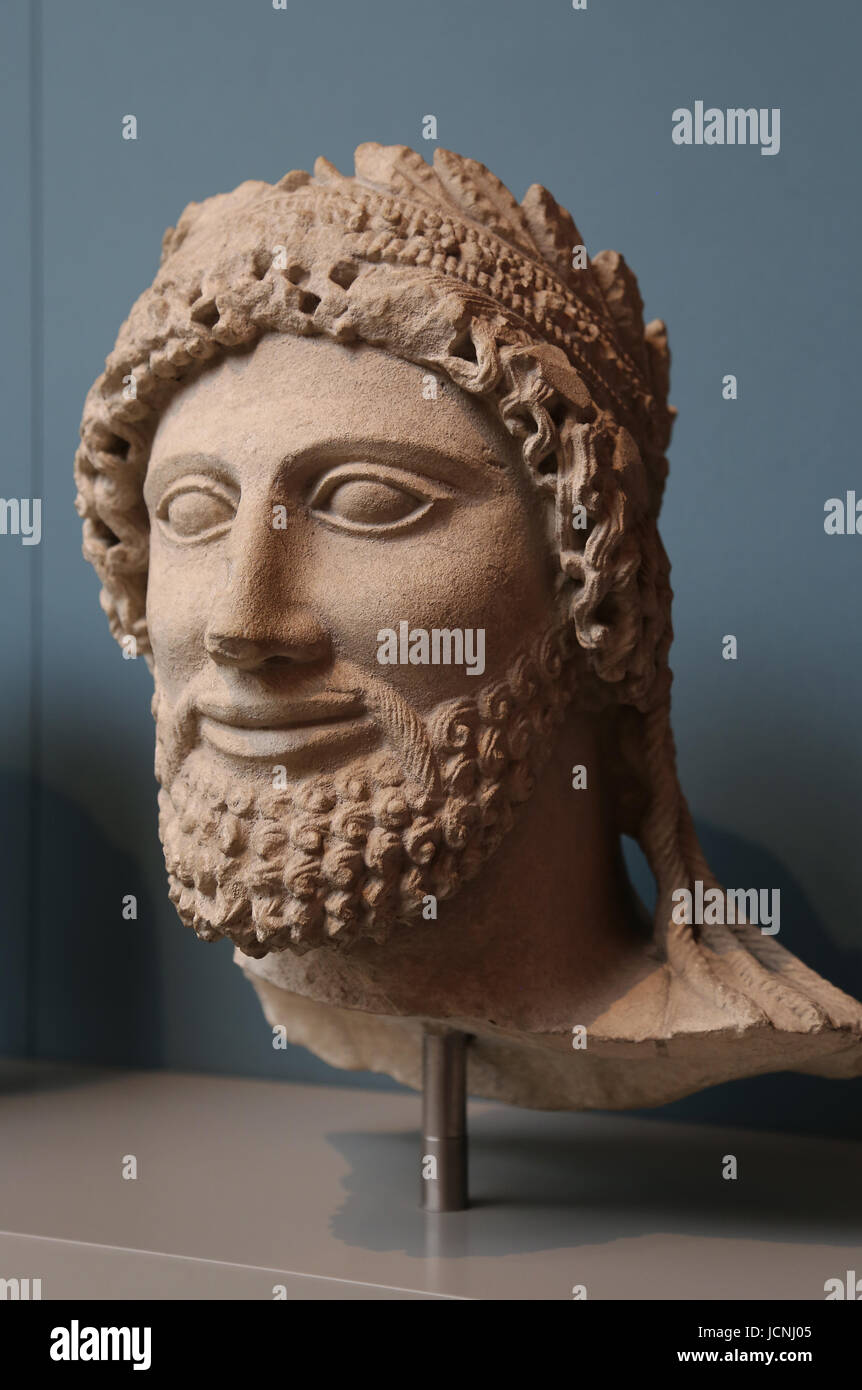 Cypriot Sculpture. The Chatsworth head, 450 BC. Limestone. Sanctuary of Apollo-Reshef. Cyprus. British Museum. London. - Stock Image