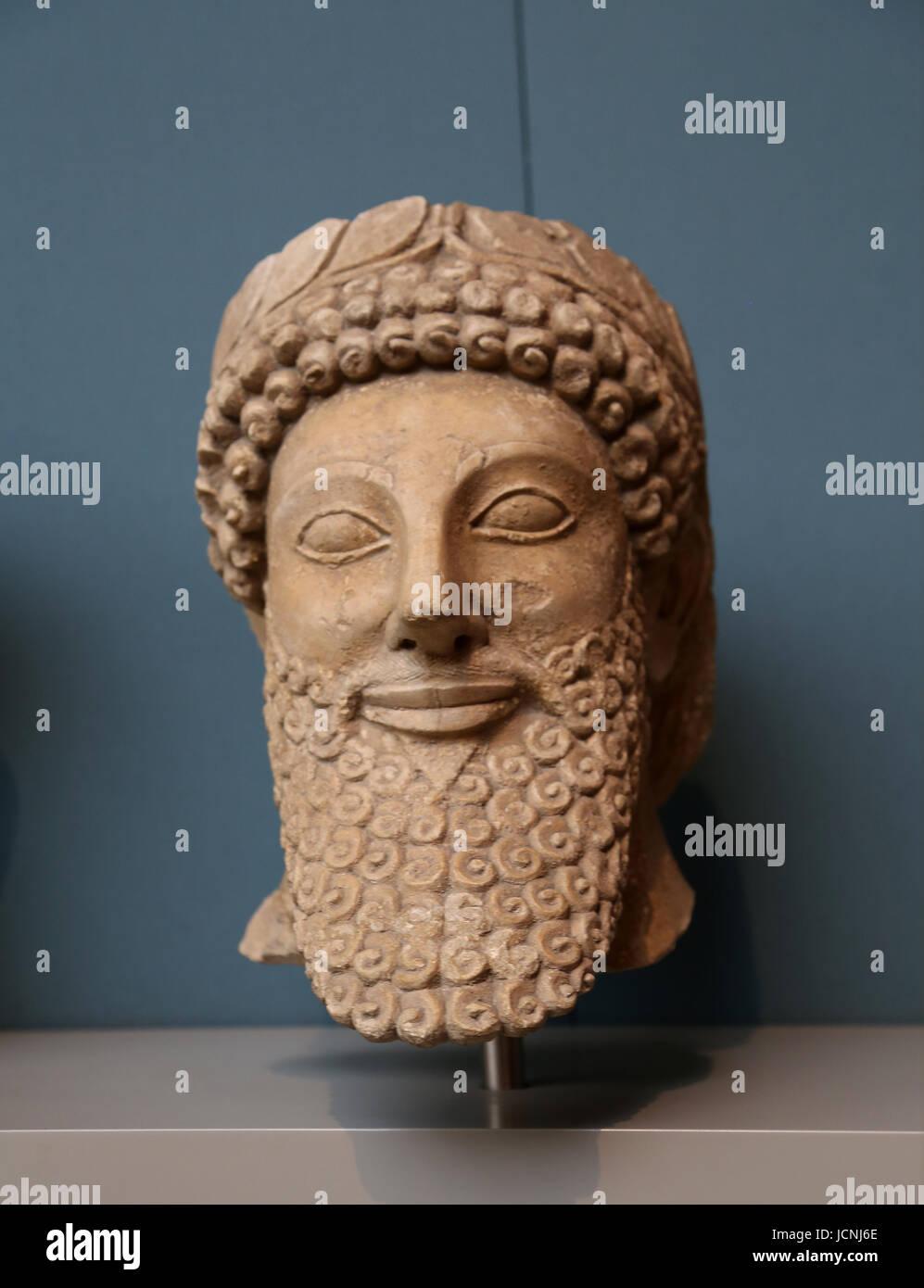 Cypriot Sculpture. 500-480 BC. Sanctuary of Apollo-Reshef at Phrangissa, Cyprus. British Museum. London. UK. - Stock Image