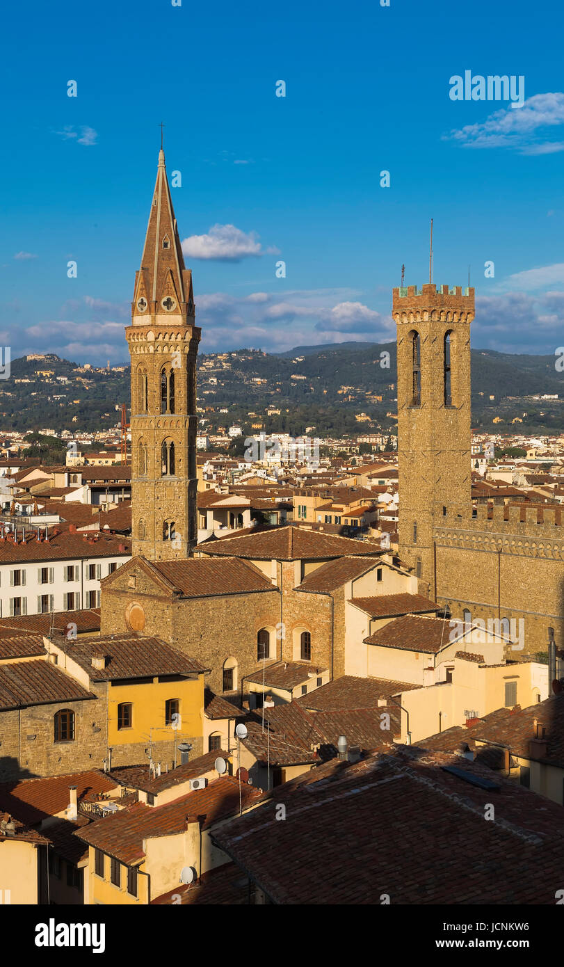 Church of the Badia Fiorentina and the tower of the National Museum Bargello in Florence. Italy. Stock Photo