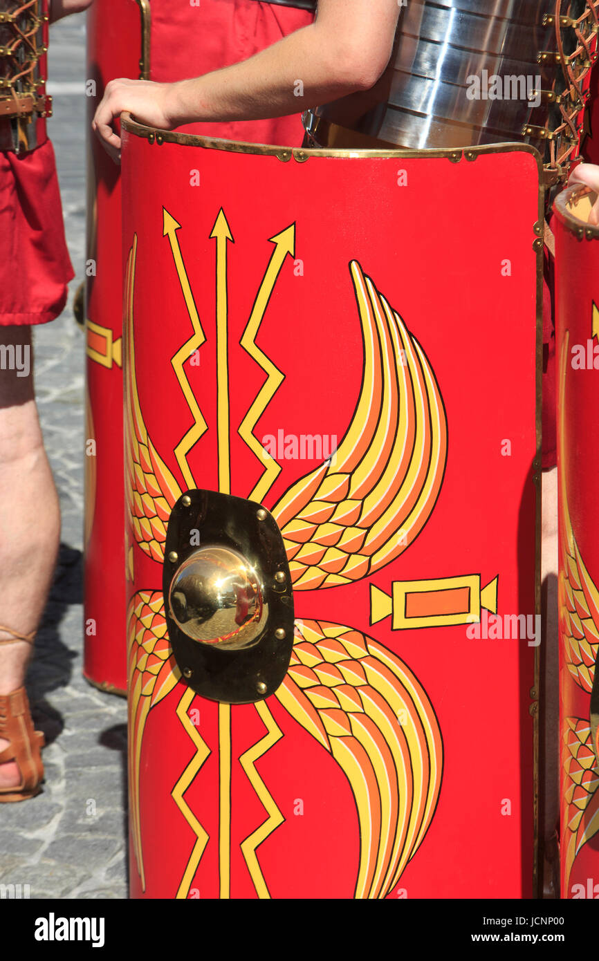 The shield of a Roman Legionary during the Holy Blood Procession in Bruges, Belgium - Stock Image