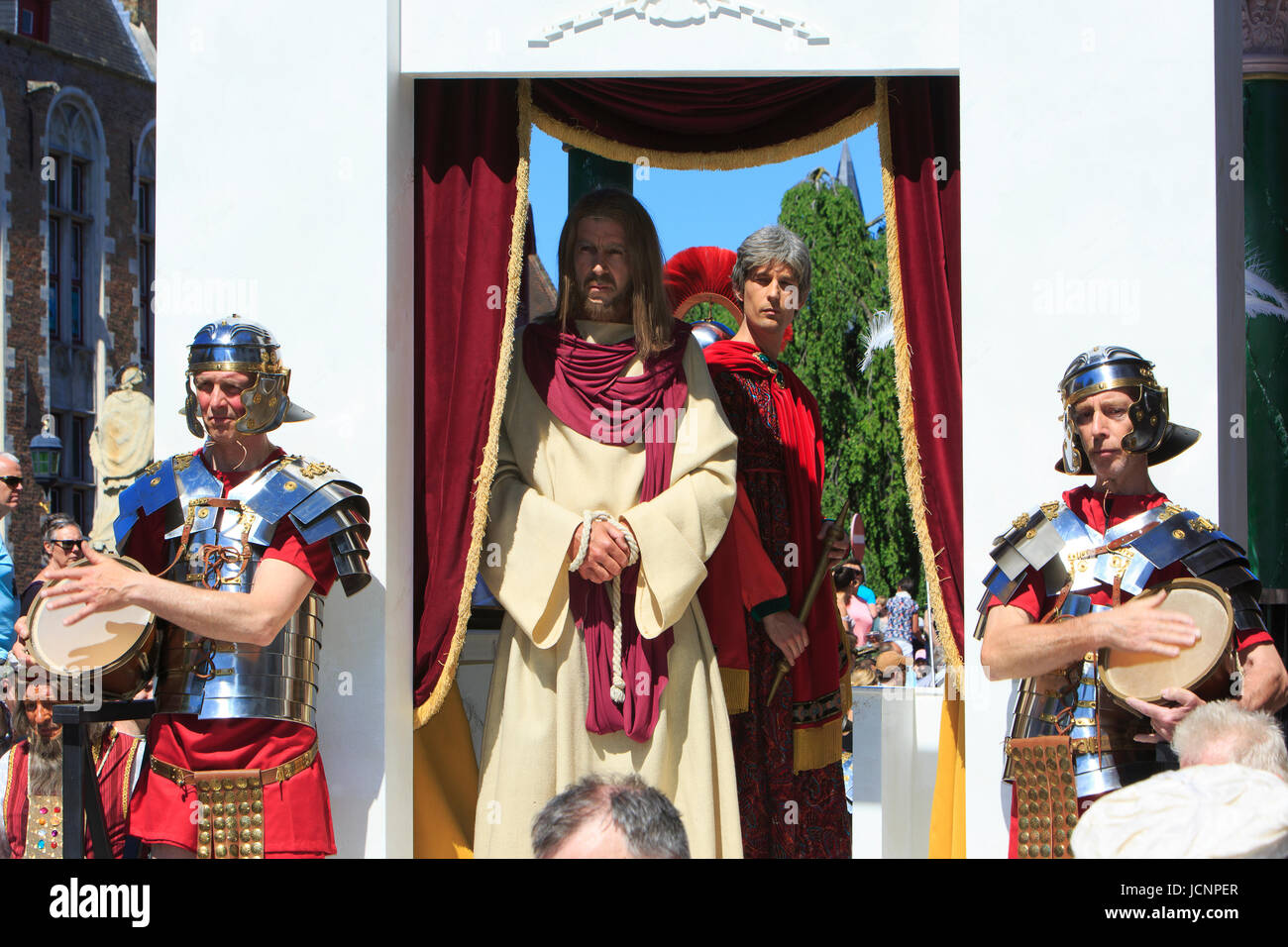 Jesus Christ and Pontius Pilate during the Procession of the Holy Blood in Bruges, Belgium - Stock Image