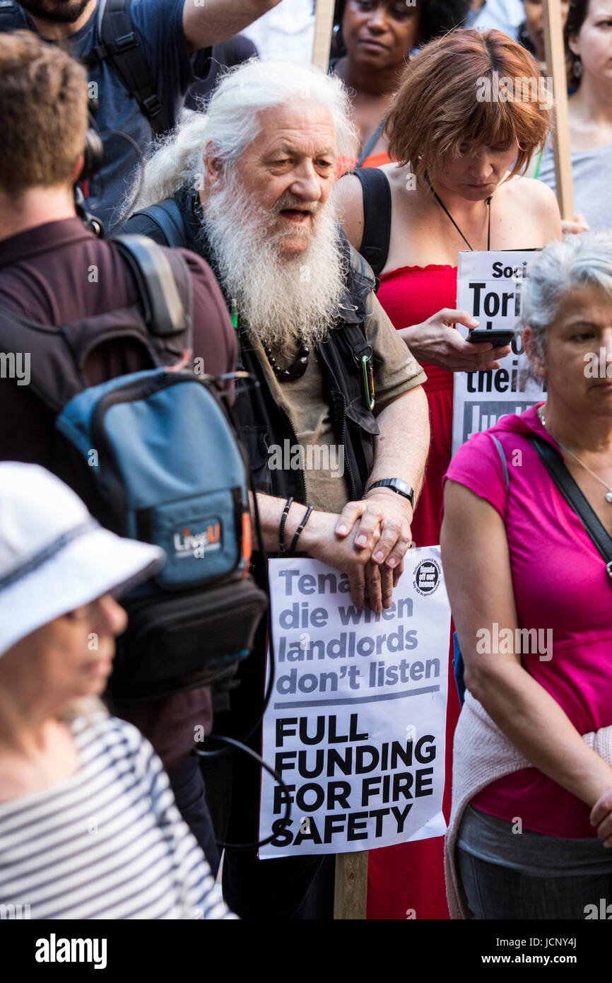 London, UK. 16th June, 2017. Justice for Grenfell Protest outside the Home Office. Protesters call for a full investivation - Stock Image
