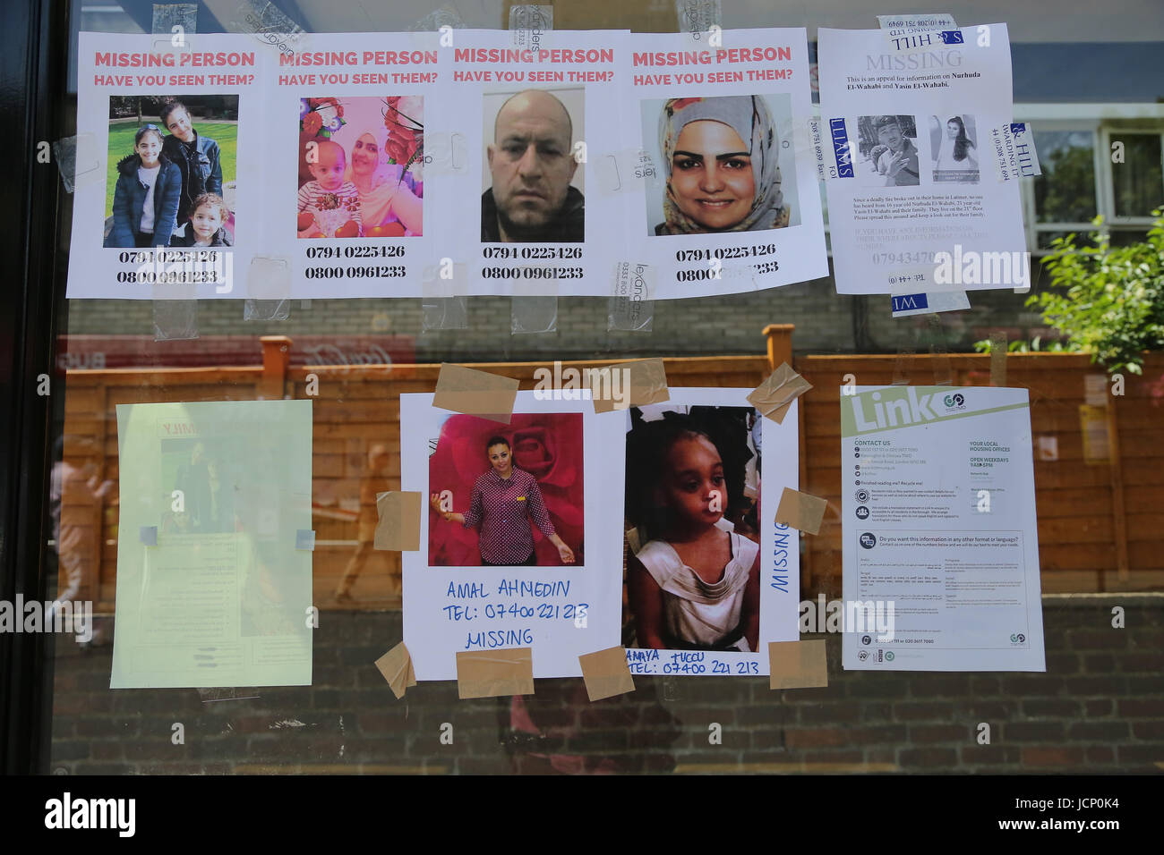 London, UK. 16th June, 2017. Posters of missing people around the Grenfell Tower block of flats in West London after - Stock Image