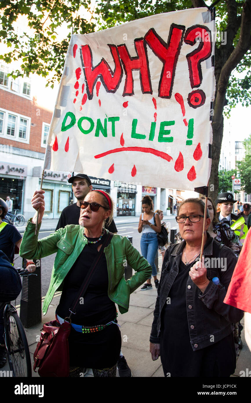 London, UK, 16 June 2017. Justice for Grenfell Protest outside the Home Office. Protesters call for a full investivation - Stock Image