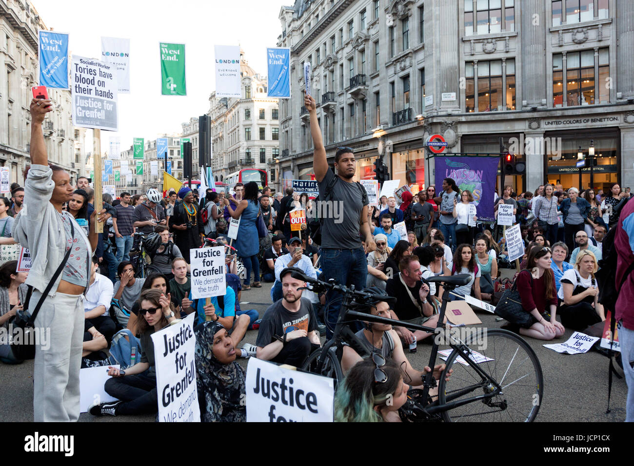 London, UK, 16 June 2017. Protesters at the Justice for Grenfell Protest block Oxford Circus. Protesters call for - Stock Image