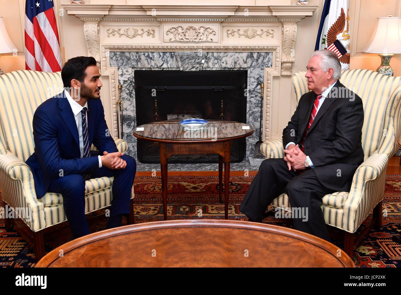 U.S. Secretary of State Rex Tillerson holds a bilateral meeting with Qatari Secretary to the Emir for Investments Stock Photo