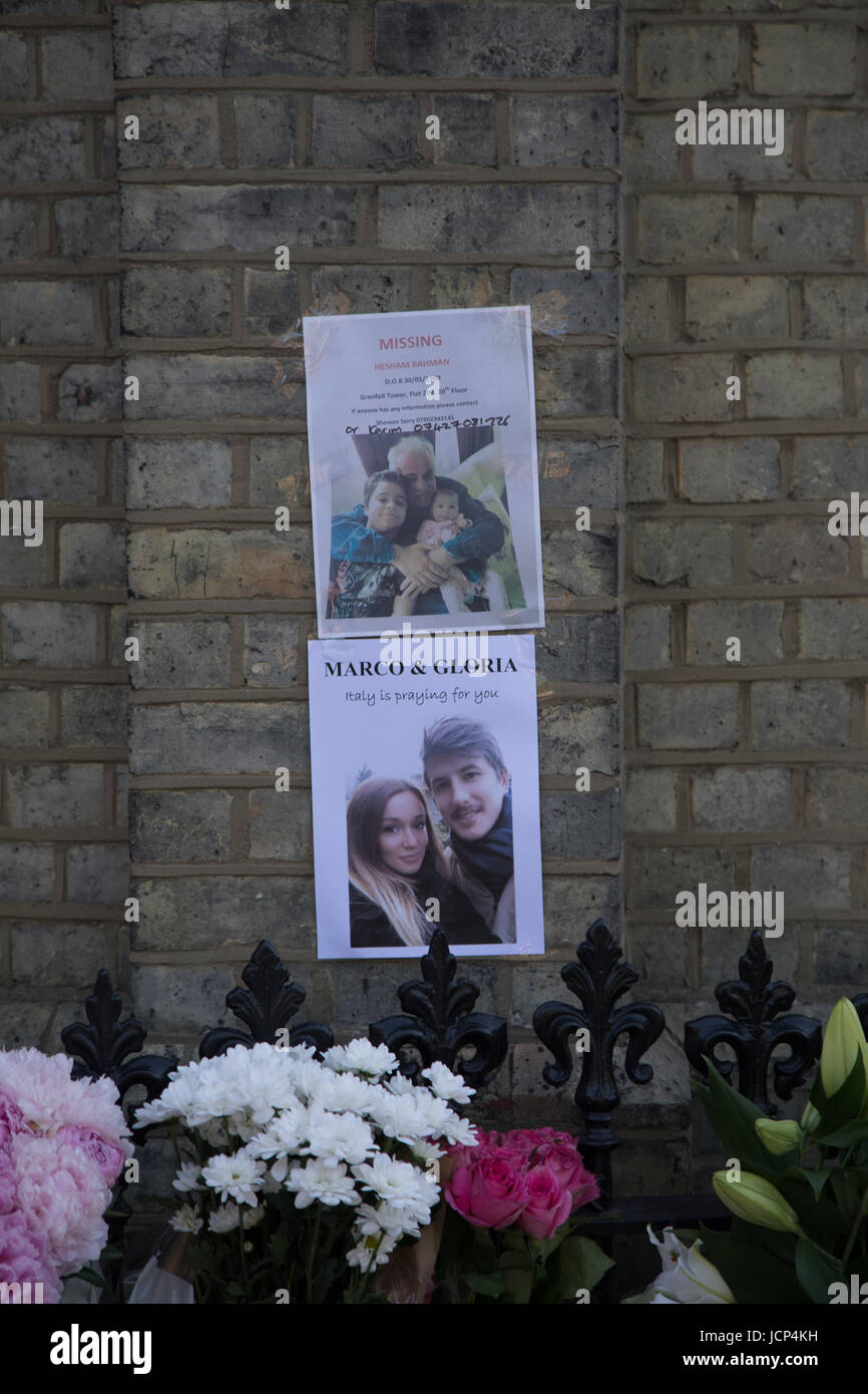 Kensington, London, UK. 17th June, 2017. Scenes around Latimer road area where there are multiple posters seeking - Stock Image