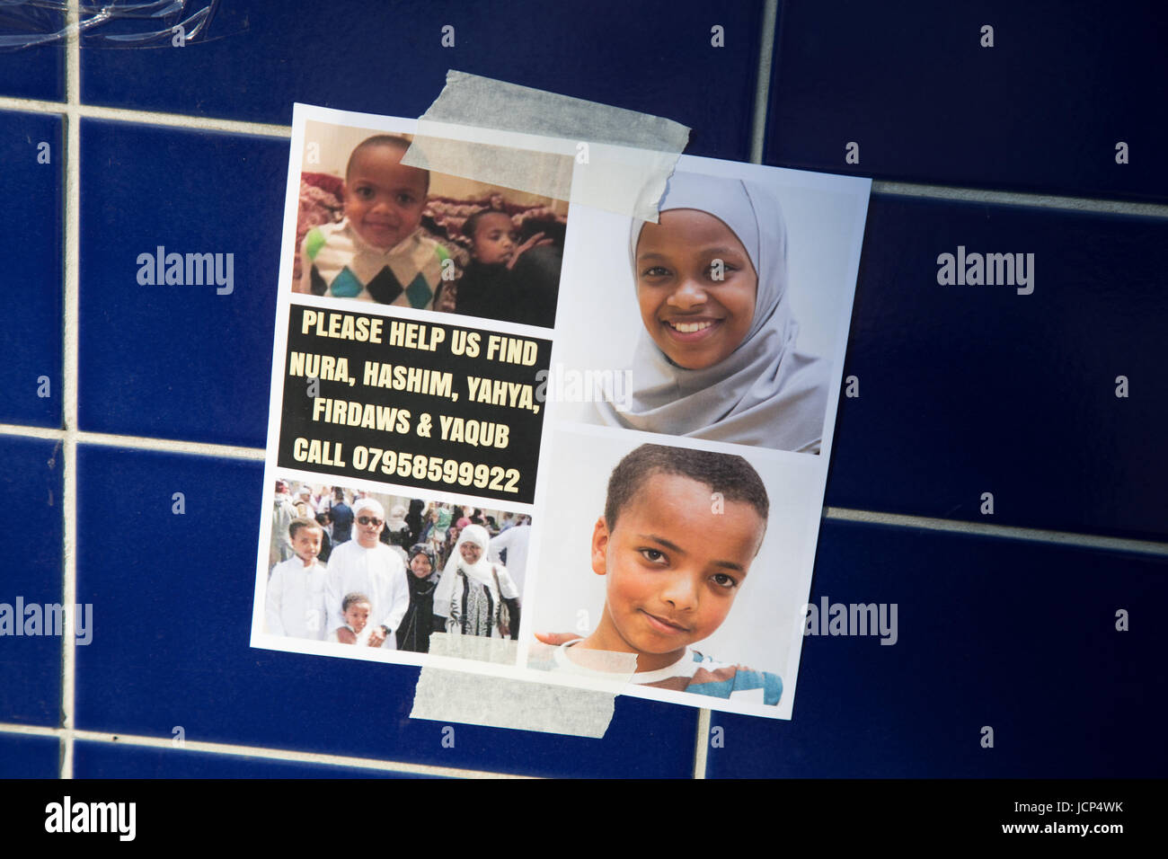 Kensington, London, UK. 17th June, 2017. Mutiple posters of missing residents. Scenes around Latimer road area where - Stock Image