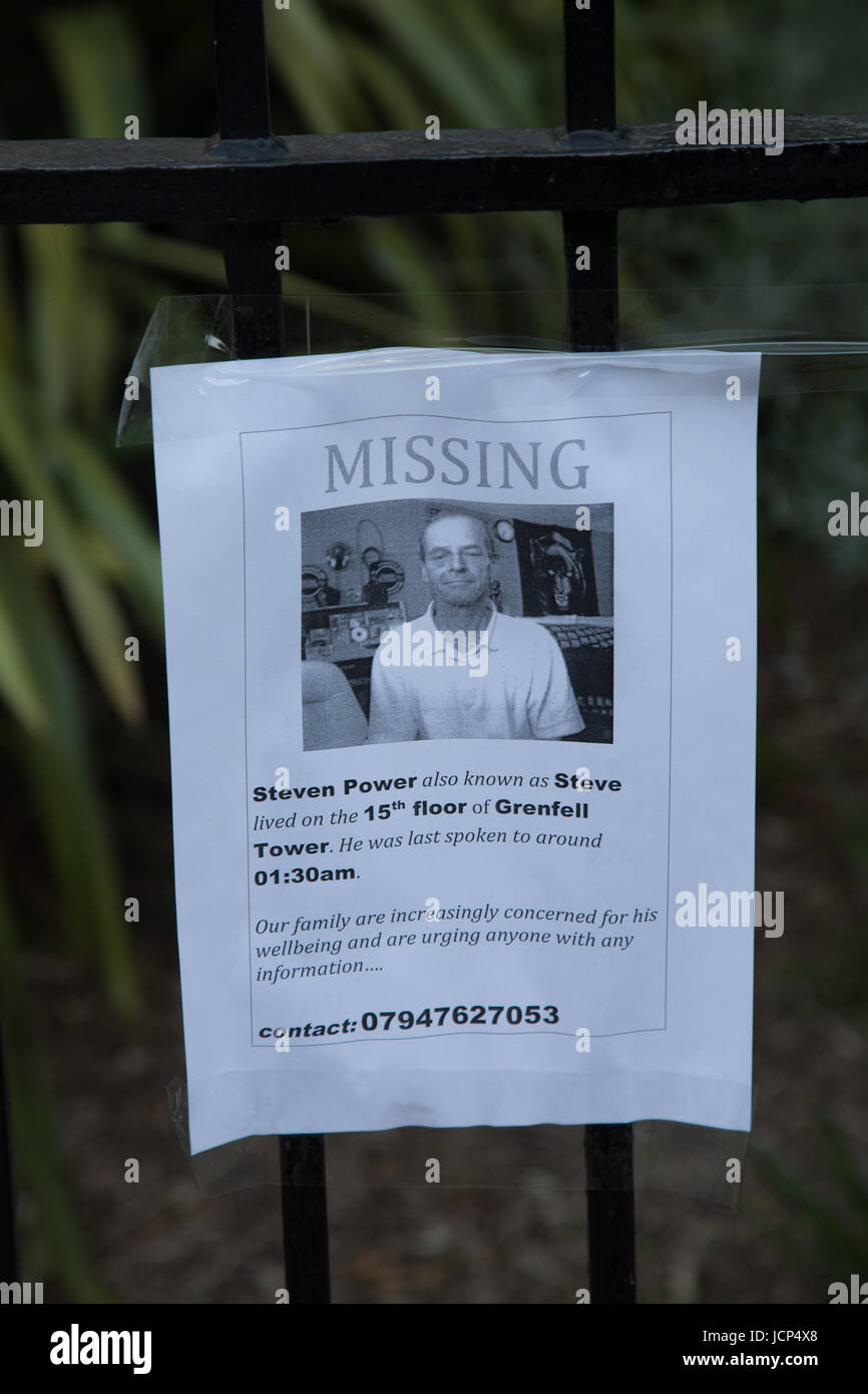 Kensington, London, UK. 17th June, 2017. Poster showing missing resident Steven Powell. Scenes around Latimer road - Stock Image