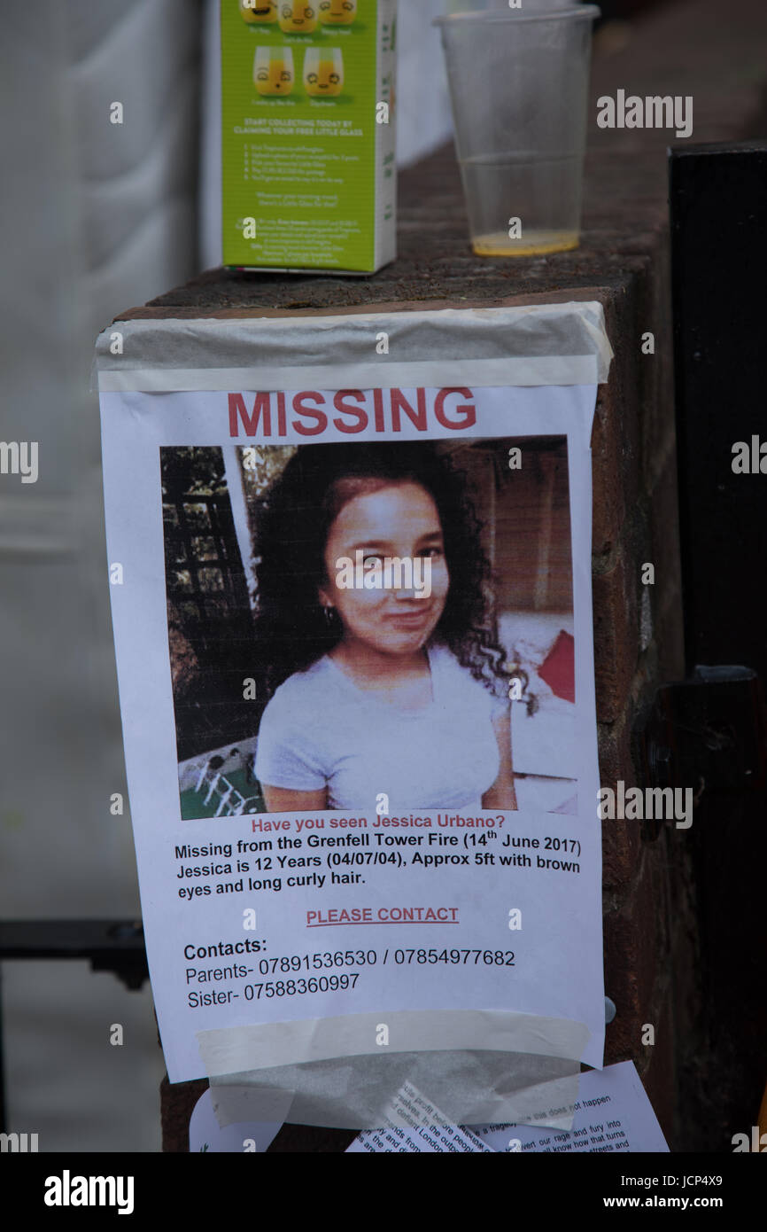Kensington, London, UK. 17th June, 2017. Poster showing missing 12 year gird Jessia Urban. Scenes around Latimer - Stock Image