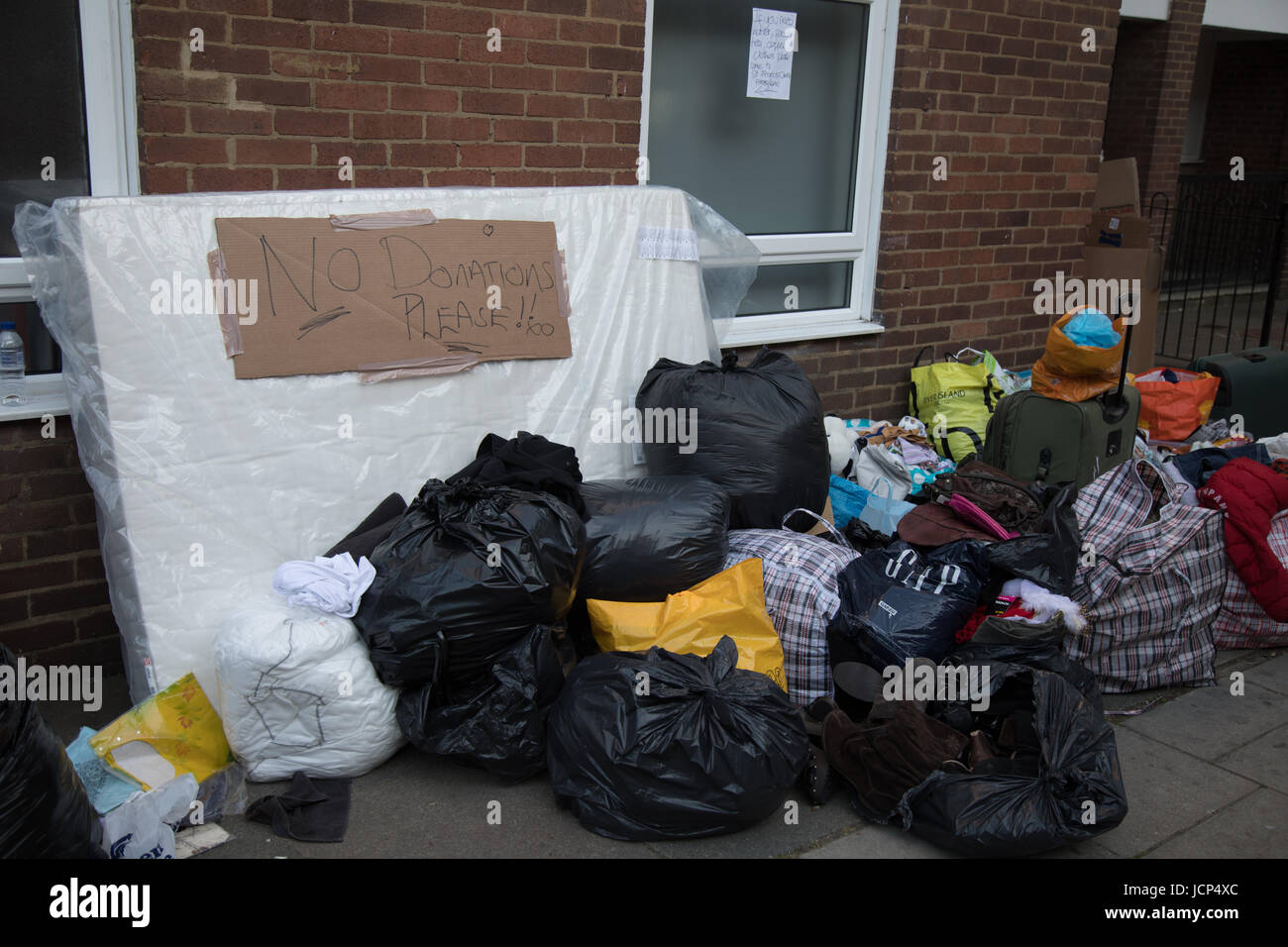 Kensington, London, UK. 17th June, 2017. Bags of donated clothes and goods. Scenes around Latimer road area where - Stock Image