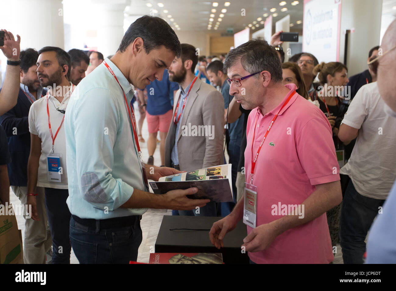Madrid, Spain. 17th June, 2017. Pedro Sanchez during the inauguration of the 39th PSOE congress, in Madrid, on Saturday Stock Photo