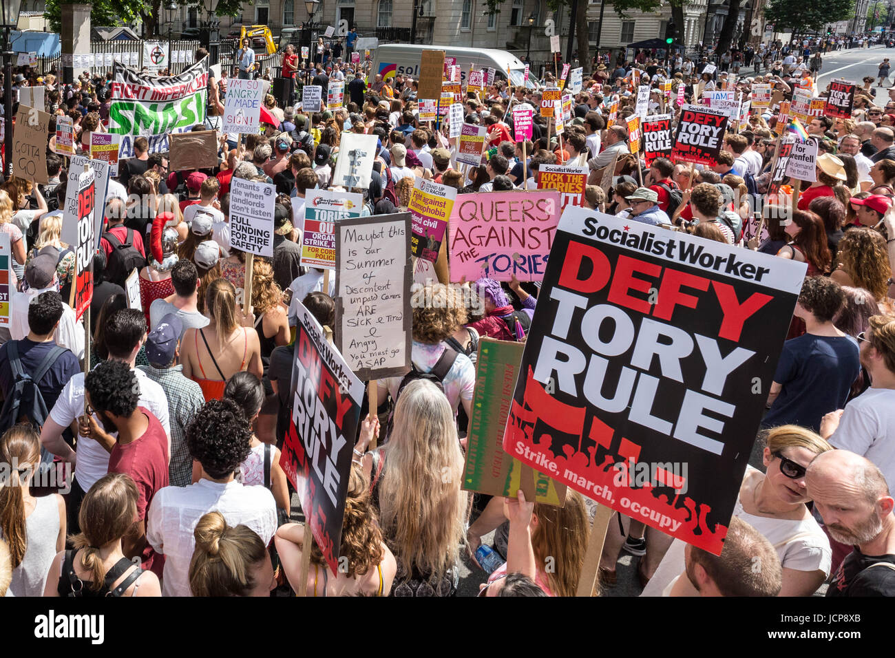 London, UK. 17th June, 2017. Protest opposite Downing Street against PM Theresa May and Tory party DUP coalition - Stock Image