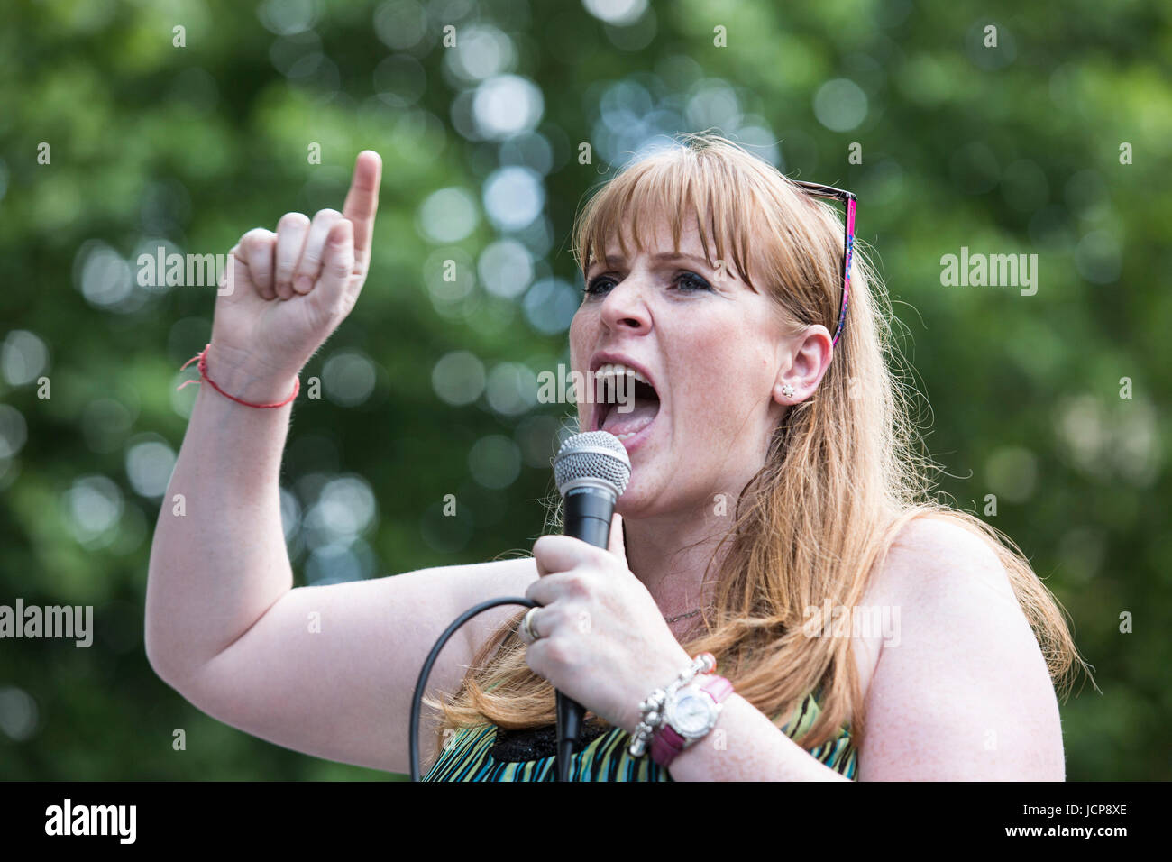 London, UK. 17 June 2017. Labour MP Angela Rayner. Londoners protest against Prime Minister Theresa May in relation - Stock Image