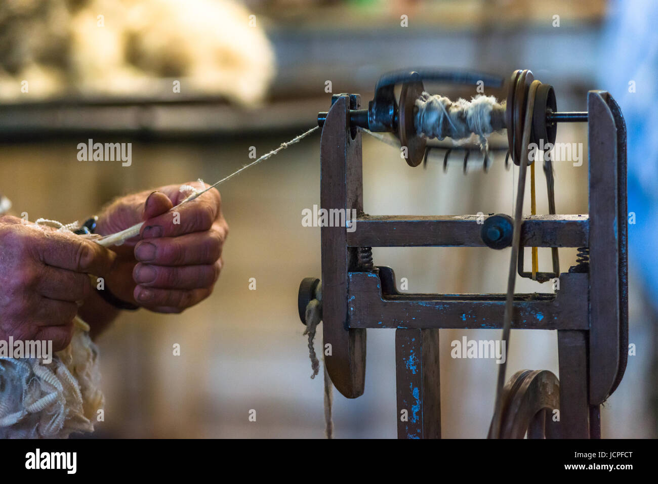 Old wool spinning machine used after shearing a sheep on Kangaroo Island. Australia. - Stock Image