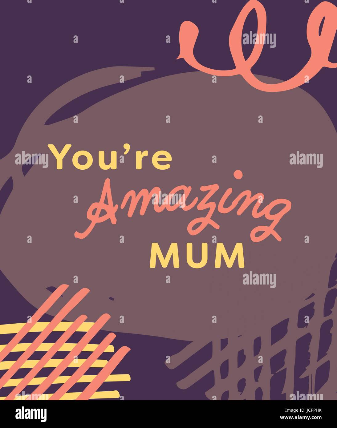 mothers day card with you are amazing mum message stock vector art