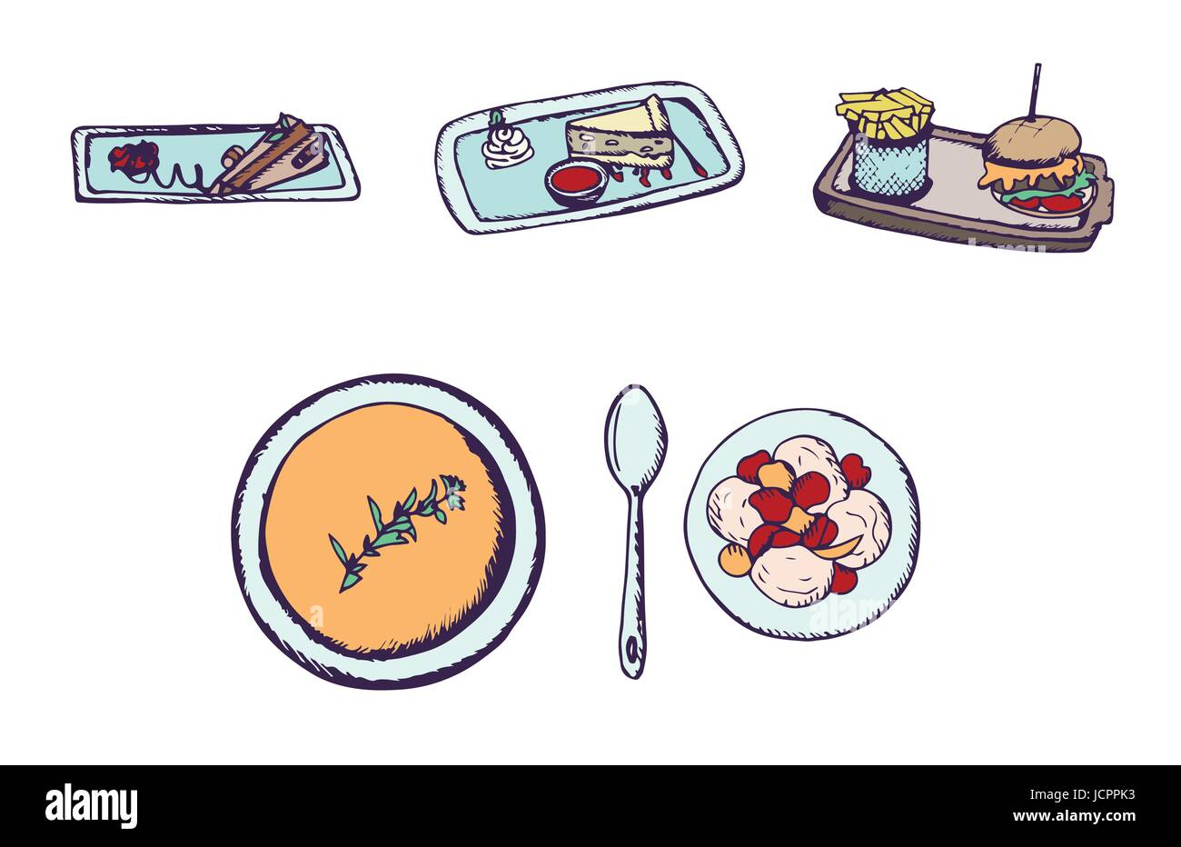 Vector set of junk food and deserts - Stock Image