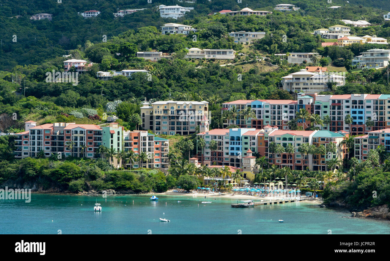 Vacation on the Caribbean Island of St Thomas U.S. Virgin Islands. View from cruise ship. Stock Photo
