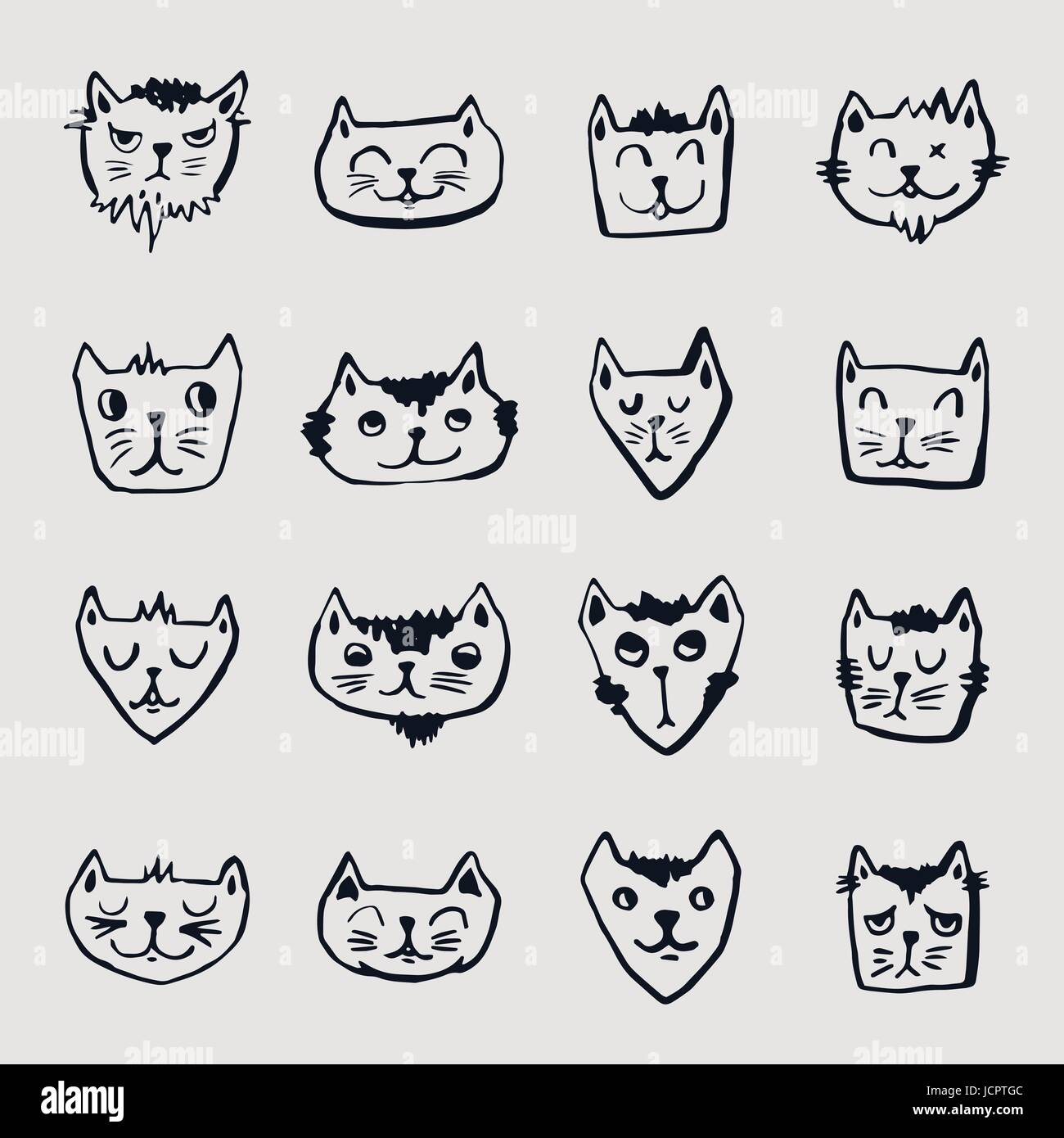 Vector icon set of cats - Stock Vector