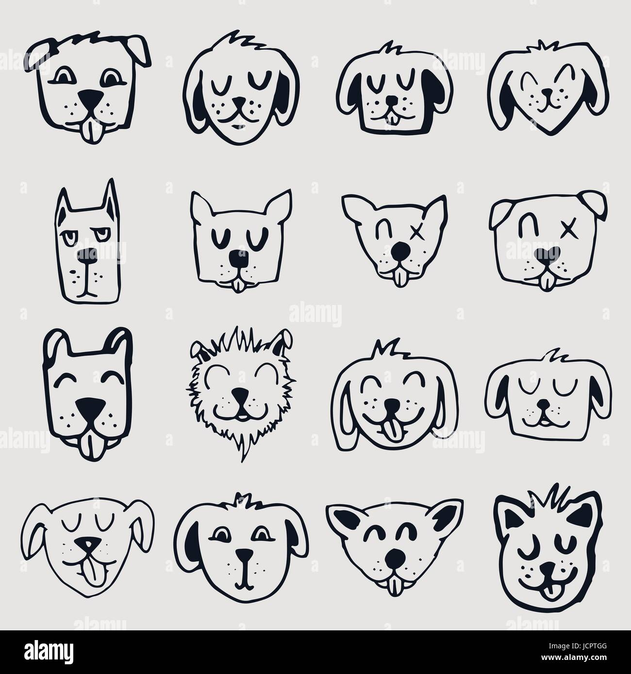 Vector icon set of dogs and cats - Stock Vector