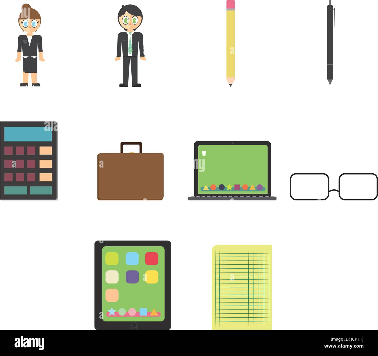 Vector icons of businesspeople and equipments - Stock Vector
