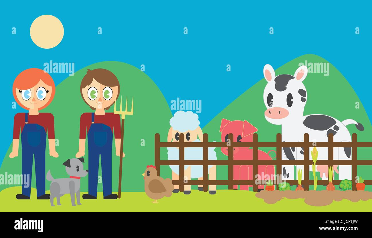 Farmers with pets in poultry farm - Stock Vector