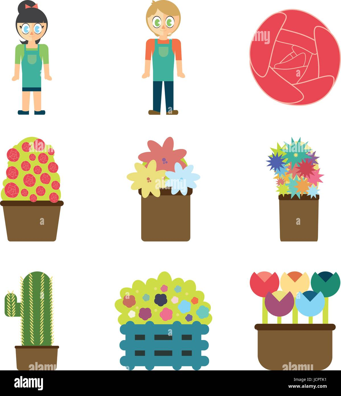Vector set of florist and floral equipments - Stock Vector