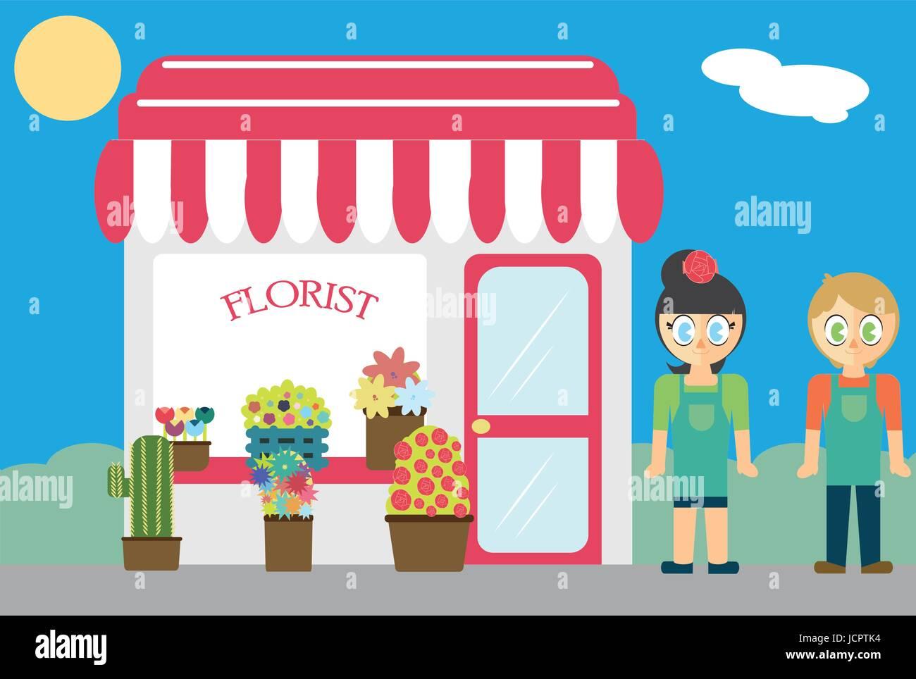 Florist standing near shop - Stock Vector