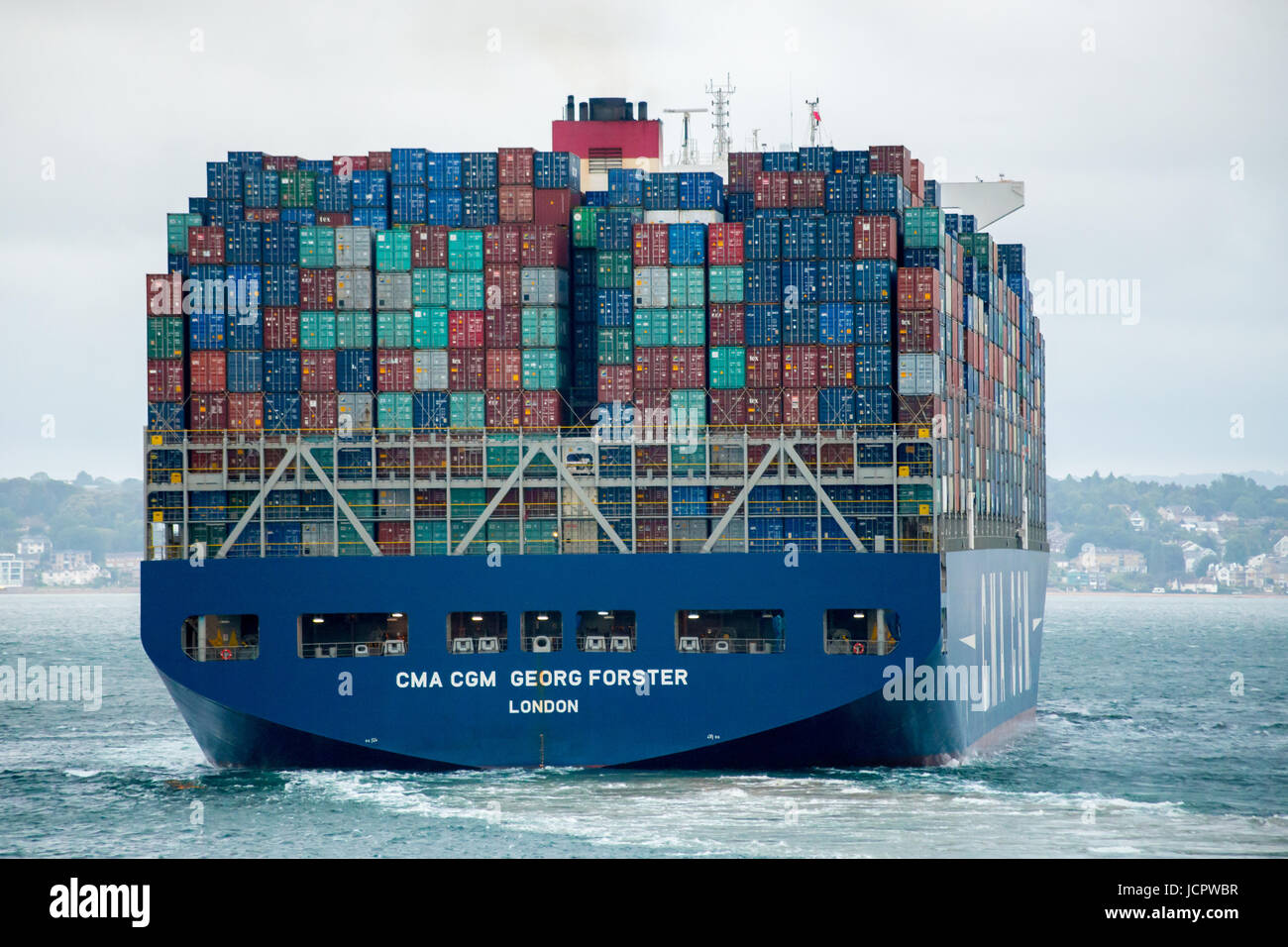 Large container ship, the CMA CGM Georg Forster, in the Solent leaving Southampton docks, England - Stock Image